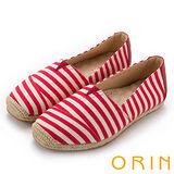 ORIN 引出度假氣氛 條紋麻編休閒平底便鞋-紅色