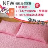 【伊柔寢飾】枕頭保潔墊-MIT-全方位3M&大和雙認證.獨家專利.100%防水 (粉色X1)
