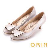 ORIN 時尚魅力 方型飾釦優雅羊皮中跟鞋-粉紅