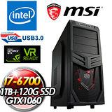 msi微星H170 GAMING平台【亞伯特IV】(I7-6700/GTX1060 GamingX 3G/1TB+120G SSD/16G DDR4)極致高效電競主機