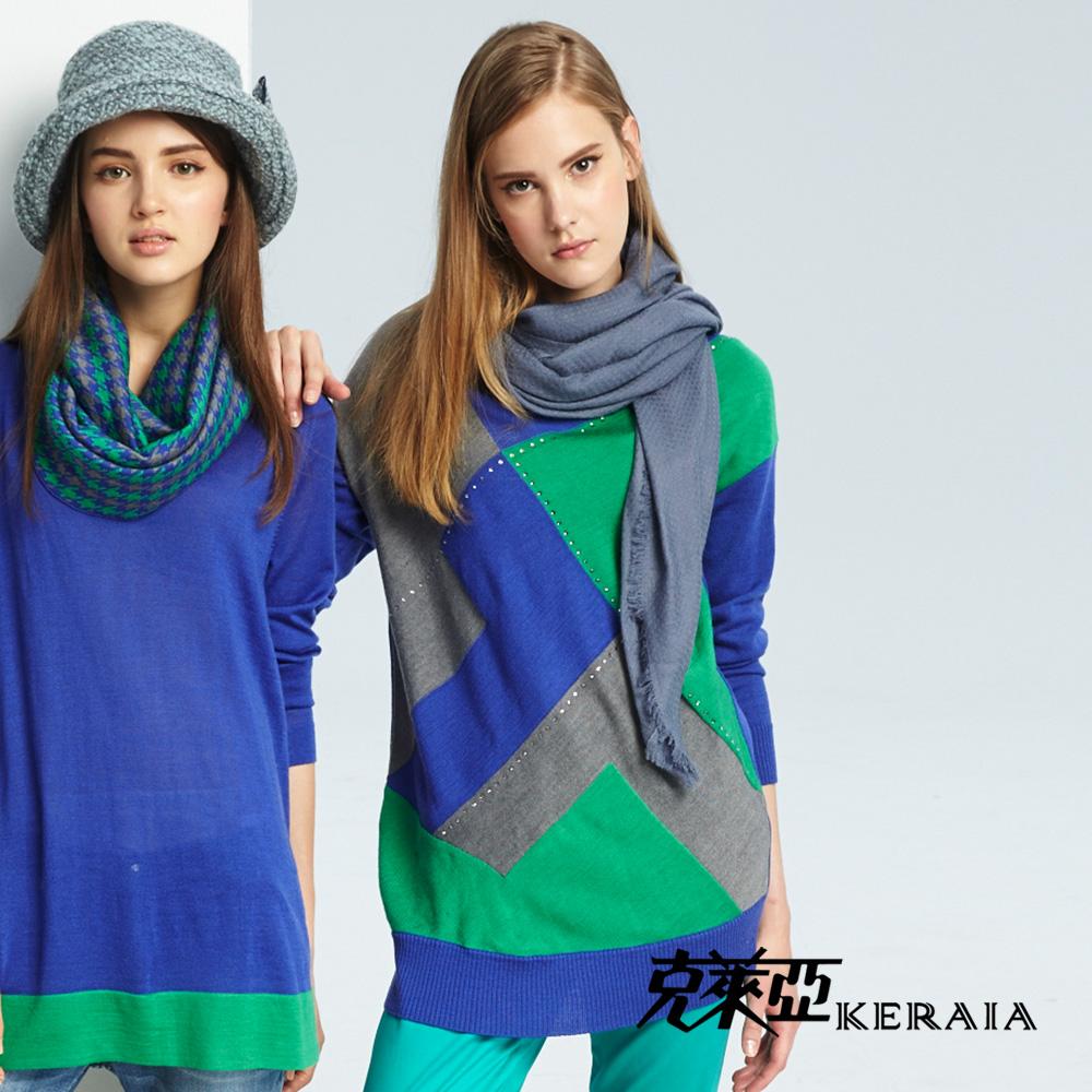 【克萊亞KERAIA】幾何色塊拼接長版上衣