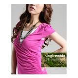 獨身貴族 流行時尚 燙鑽裹襟V領短袖上衣(共三色)-桃紫