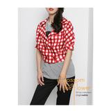 獨身貴族 愛戀格紋 經典短版外套(共二色)-紅白格