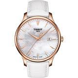 TISSOT Tradition 真鑽經典大三針石英腕錶-珍珠貝x玫瑰金框/42mm T0636103611601