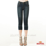 BRAPPERS 女款 LN-針織系列-女用彈性針織七分褲-藍
