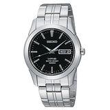 SEIKO 精工 簡約經典大三針藍寶石水晶鏡面鋼帶錶(SGG715J1)-黑/7N43-0AR0D