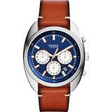 Fossil Buchanan 旗鑑三眼計時腕錶-藍x咖啡/42mm CH3045