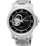 SEIKO Premier 開芯鏤空視窗機械腕錶-黑/40mm 4R39-00P0D(SSA321J1)