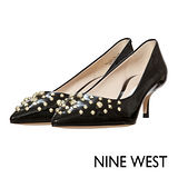 NINE WEST--鉚釘漆皮尖頭高跟鞋--漆皮黑