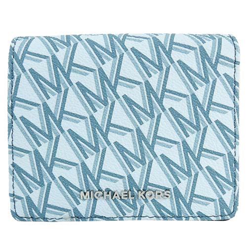 Michael Kors JET SET PVC滿版防刮兩折短夾(天空藍)