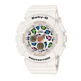 CASIO 卡西歐 BABY-G 彩色繽紛豹紋錶盤設計腕錶/43.4mm/BA-120LP-7A1