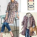 日本Portcros 預購-純棉長版綁帶格紋襯衫-黃色系