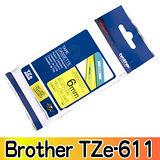 Brother TZe-611 護貝標籤帶 6mm 黃底黑字