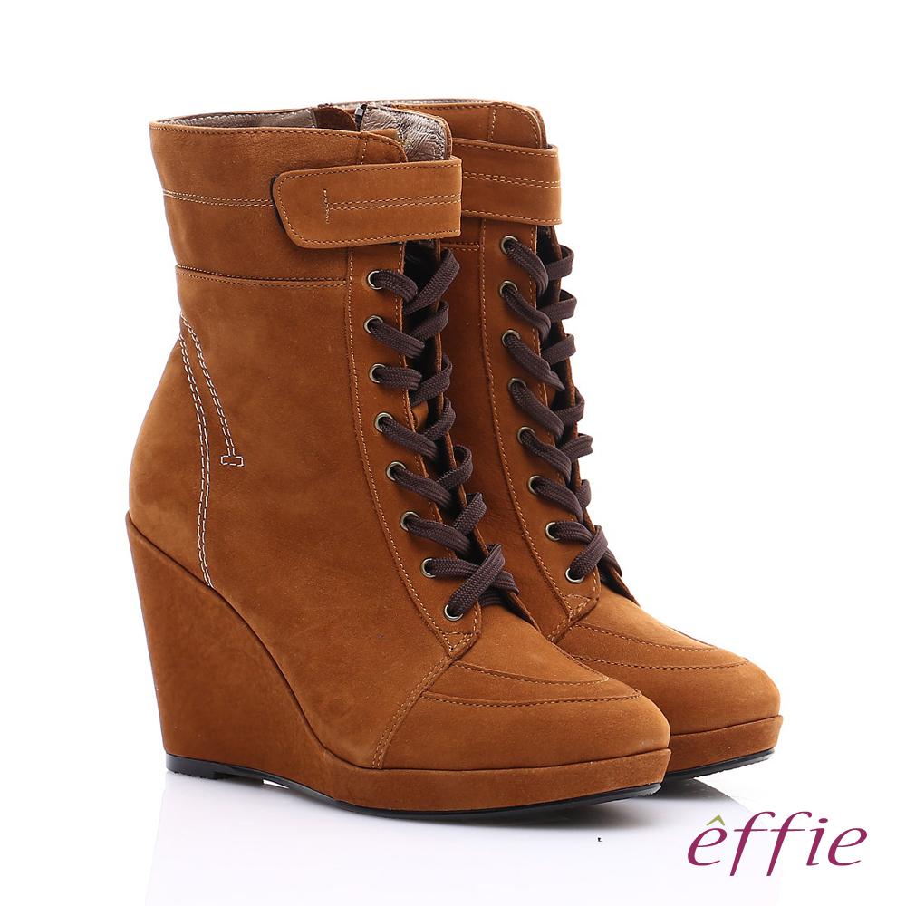 【effie】保暖靴系列 絨面牛皮魔鬼氈奈米楔型短靴(茶)