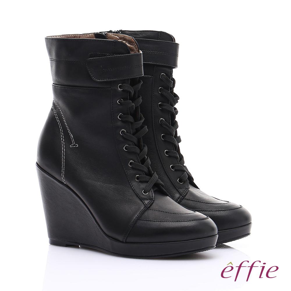 【effie】保暖靴系列 絨面牛皮魔鬼氈奈米楔型短靴(黑)