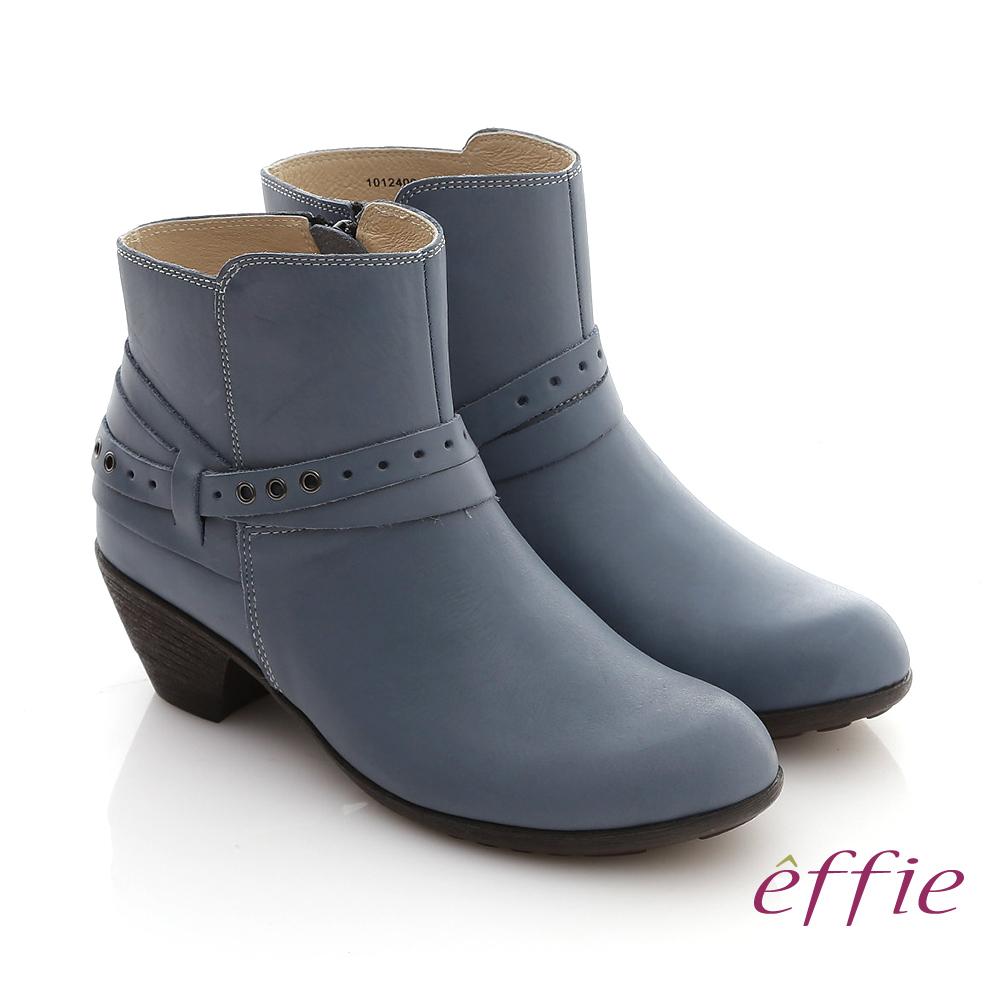 【effie】城市漫遊 全真皮素面雙孔造型拉鍊短靴(藍)
