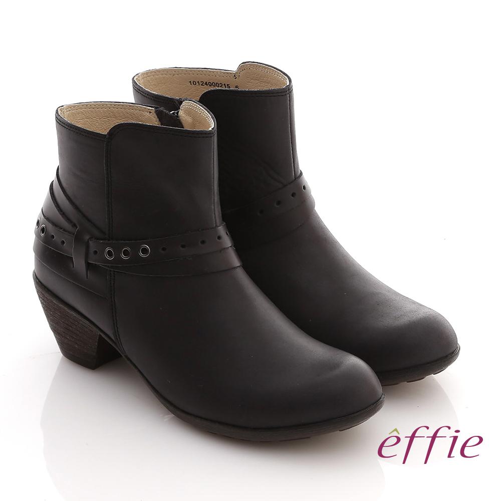【effie】城市漫遊 全真皮素面雙孔造型拉鍊短靴(黑)