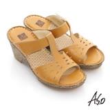 【A.S.O】頂級氣墊 全真皮簍空奈米氣墊涼拖鞋(黃)