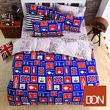 《DON漫遊倫敦》加大四件式蜜絲絨全舖棉兩用被床包組
