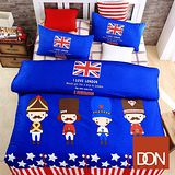 《DON英倫士兵》加大四件式蜜絲絨全舖棉兩用被床包組