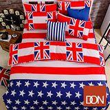 《DON美式風潮》加大四件式蜜絲絨全舖棉兩用被床包組