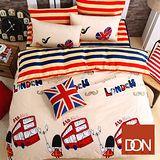 《DON英倫印象》加大四件式蜜絲絨全舖棉兩用被床包組