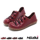 【Miaki】MIT 休閒鞋古著皮質簡約車線平底包鞋 (咖啡色 / 紅色 / 藍色 / 黑色)