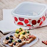 【Homely Zakka】小紅莓附蓋琺瑯盒儲物罐/輕食便當盒/烤盤烤皿(1000ml方盒M)