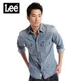 【Lee】獨具特色 101牛仔合身襯衫-男款(中漂藍)