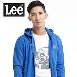Lee 帥氣有型,背部圖案印刷連帽拉鍊外套-男款(藍)
