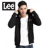 Lee 帥氣有型,背部圖案印刷連帽拉鍊外套-男款(黑)