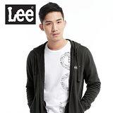 Lee 帥氣有型,背部圖案印刷連帽拉鍊外套-男款(黑灰)