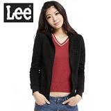 【Lee】刺繡字樣連帽長袖拉鍊外套-女款(黑)