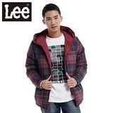 Lee 羽絨外套 兩面穿連帽拉鍊-男款(暗紅、格紋)