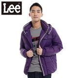 Lee 羽絨外套 回歸起源 可拆帽拉鍊-男款(紫)