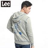 【Lee】Club Nostalgia划艇植絨印刷長袖連帽拉鍊外套-男款(淡灰藍)