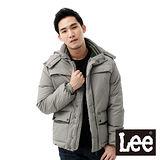 Lee 羽絨外套 可拆帽立領拉鍊防風多口袋-男款(灰)