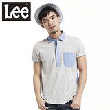 Lee 短袖POLO 平織針織布拼接-男款(麻花灰)