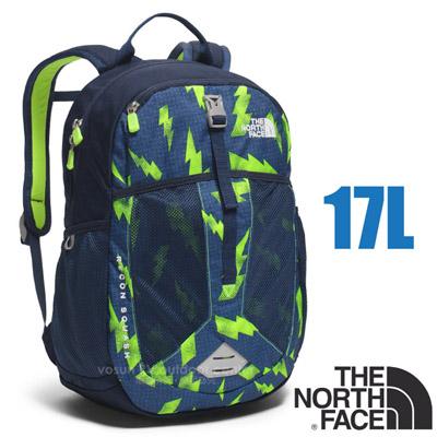 【美國 The North Face】RECON SQUASH 童款 童趣印花風格雙肩後背包17L (YKK拉鍊 日用運動休閒書包)/大容量主袋/CTK3 閃電印花/螢光綠