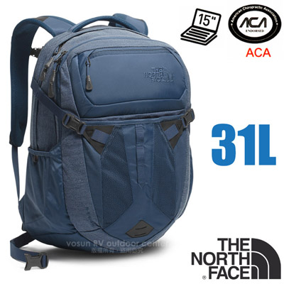 【美國 The North Face】新款 RECON 抗撕裂多功能後背包31L(YKK拉鍊+求生哨 電腦書包 可容15吋筆電 美國脊椎協會認證) CLG4 蔭藍灰/蔭藍