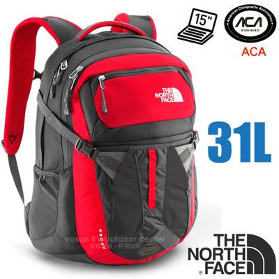 【美國 The North Face】新款 RECON 抗撕裂多功能後背包31L(YKK拉鍊+求生哨 電腦書包 可容15吋筆電 美國脊椎協會認證) CLG4 紅/瀝灰