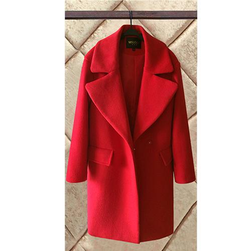 【DearBaby】韓流素面雙排扣翻領長版大衣-黑色、紅色 (預購)