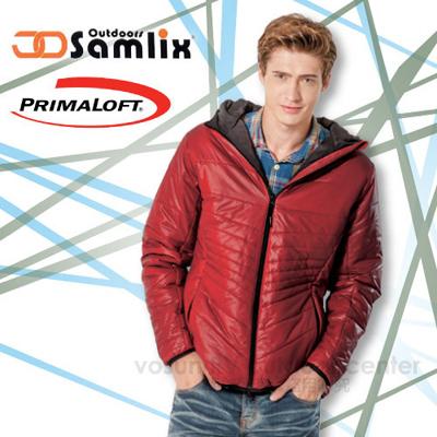 【山力士 SAMLIX】男Primaloft 輕量保暖外套.休閒外套.雪衣.防風.防潑水(非羽絨外套)/紅 66813