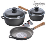 Berndes寶迪 木柄湯鍋20cm含蓋+雙耳鍋 24cm含蓋+煎鍋 24cm