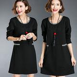 【麗質達人 中大碼】8020黑色運動風休閒洋裝(XL-5XL)