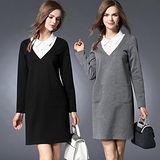 【麗質達人 中大碼】2857假二件式洋裝(XL-5XL)
