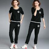 【麗質達人 中大碼】6622長袖上衣+長褲二件式套裝(XL-5XL)