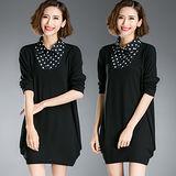 【麗質達人 中大碼】8125假二件式長衣裙(XL-5XL)