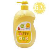 黃色小鴨 奶瓶蔬果洗潔劑罐裝1000ML/6入(香甜橘油)