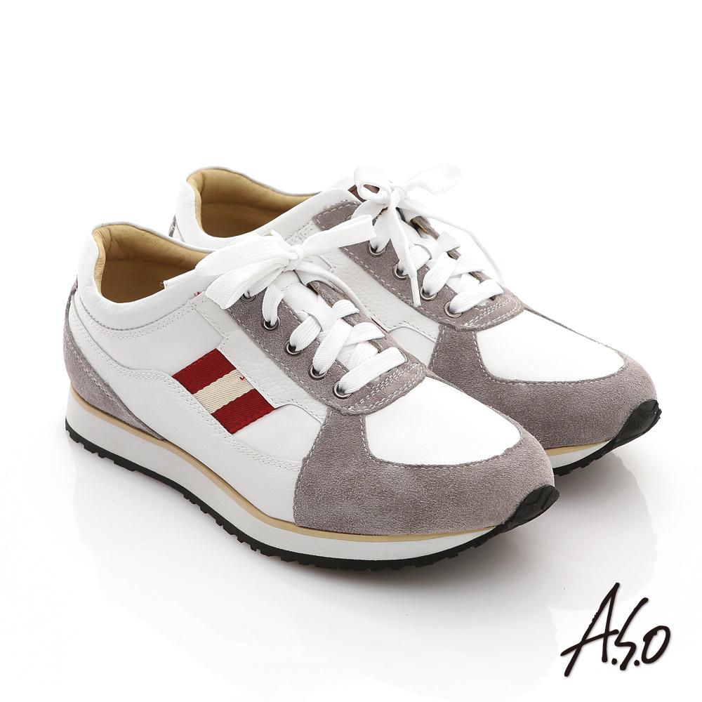 【A.S.O】樂活休閒 絨面真皮雙色織帶奈米休閒鞋(白)